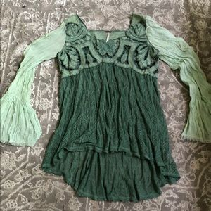 Free people green bell sleeve lace shirt